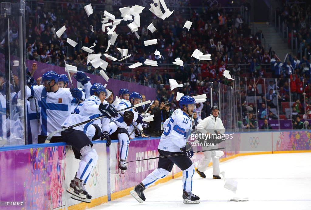 Sami Vatanen #45 and Tuomo Ruutu #15 of Finland celebrate with teammates after defeating the United States 5-0 during the Men's Ice Hockey Bronze Medal Game on Day 15 of the 2014 Sochi Winter Olympics at Bolshoy Ice Dome on February 22, 2014 in Sochi, Russia.