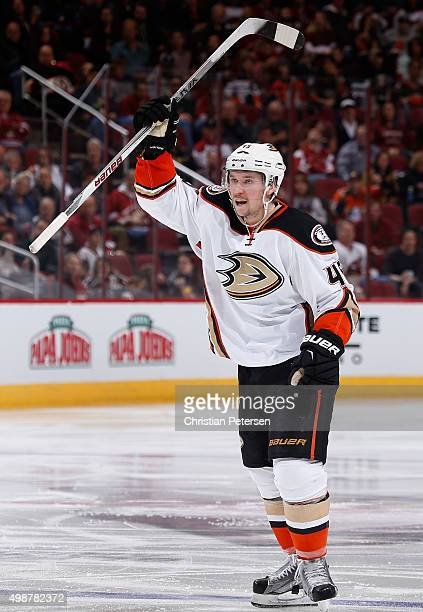 Sami Vatanen of the Anaheim Ducks celebrates after scoring a third period power play goal against the Arizona Coyotes during the NHL game at Gila...