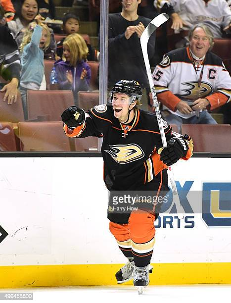 Sami Vatanen of the Anaheim Ducks celebrates the goal of Ryan Kesler to take a 20 lead over the Arizona Coyotes during the first period at Honda...