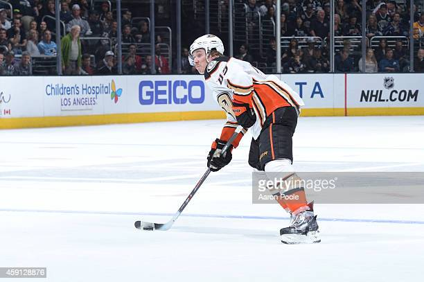 Sami Vatanen of the Anaheim Ducks handles the puck during a game against the Los Angeles Kings at STAPLES Center on November 15 2014 in Los Angeles...