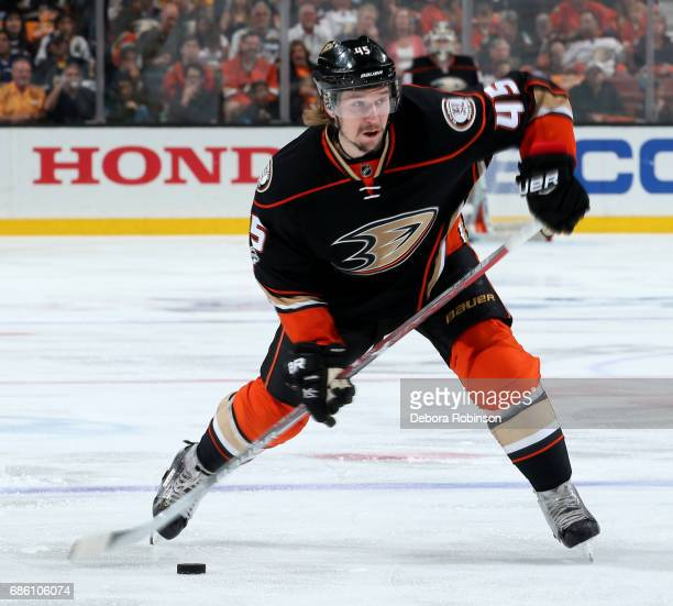 Sami Vatanen of the Anaheim Ducks handles the puck during the game against the Nashville Predators in Game Five of the Western Conference Final...