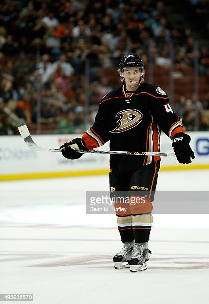 Sami Vatanen of the Anaheim Ducks looks on during the first period of a game against the Arizona Coyotes at Honda Center on October 14 2015 in...