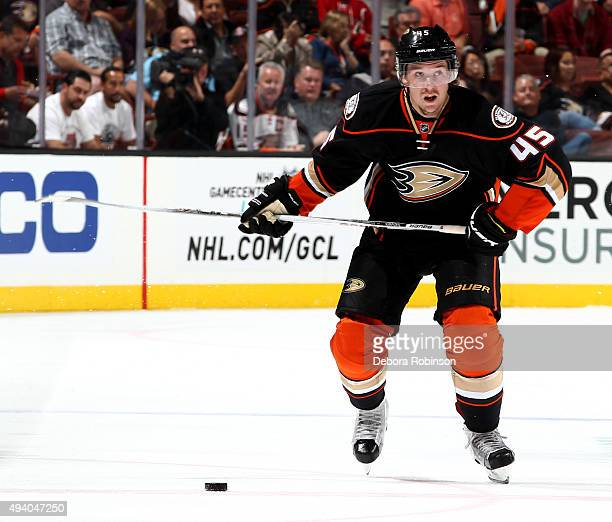 Sami Vatanen of the Anaheim Ducks looks to take a shot during the game against the Arizona Coyotes on October 14 2015 at Honda Center in Anaheim...