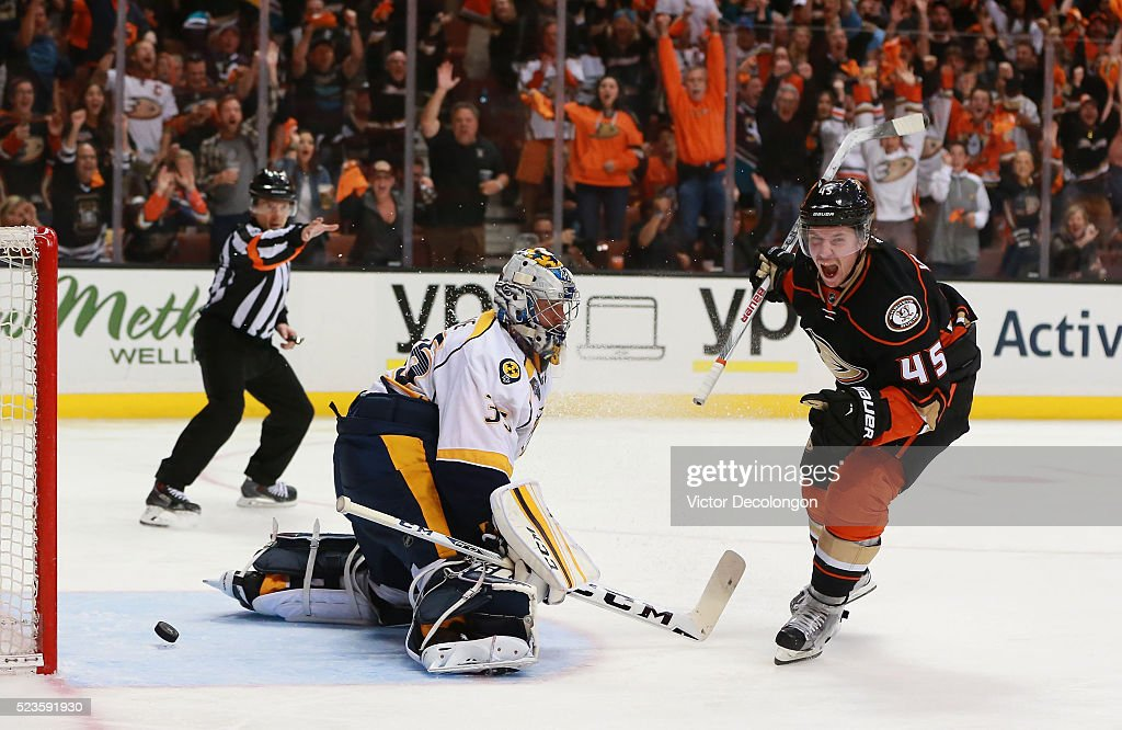 Sami Vatanen #45 of the Anaheim Ducks reacts after scoring on a breakaway against goaltender Pekka Rinne #35 of the Nashville Predators in the third period of Game Five of the Western Conference First Round during the 2016 NHL Stanley Cup Playoffs at Honda Center on April 23, 2016 in Anaheim, California. Vatanen's goal was the eventual game-winning goal. The Ducks defeated the Predators 5-2.