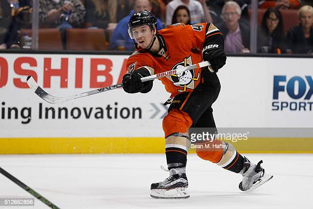 Sami Vatanen of the Anaheim Ducks shoots the puck during the first period of a game against the Calgary Flames at Honda Center on February 21 2016 in...
