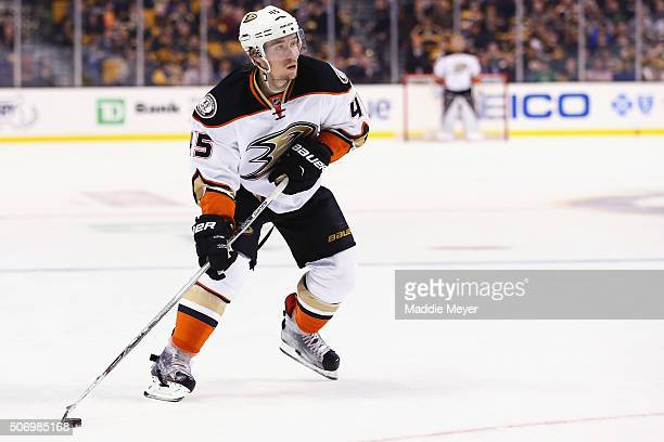 Sami Vatanen of the Anaheim Ducks skates against the Boston Bruins during the second period at TD Garden on January 26 2016 in Boston Massachusetts