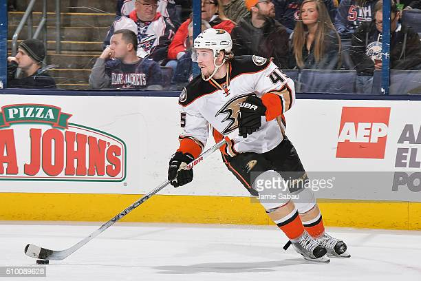 Sami Vatanen of the Anaheim Ducks skates against the Columbus Blue Jackets on February 11 2016 at Nationwide Arena in Columbus Ohio