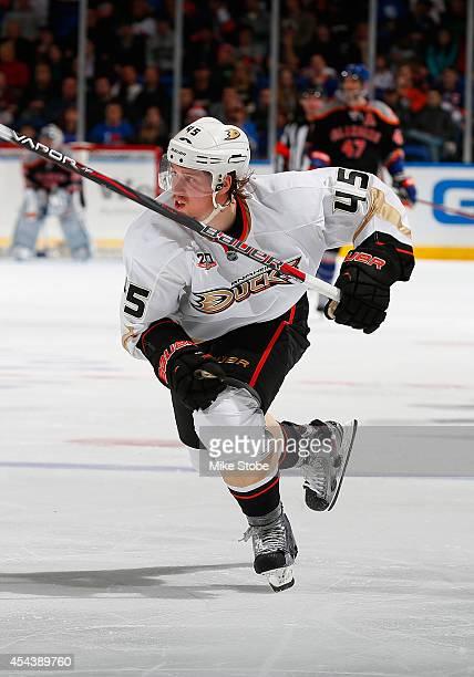Sami Vatanen of the Anaheim Ducks skates against the New York Islanders at Nassau Veterans Memorial Coliseum on December 21 2013 in Uniondale New...