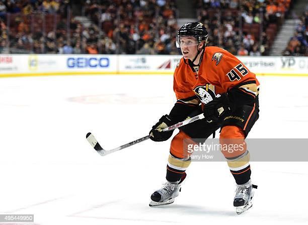 Sami Vatanen of the Anaheim Ducks skates in from the point against the Nashville Predators at Honda Center on November 1 2015 in Anaheim California