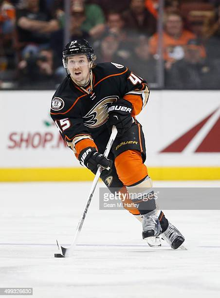 Sami Vatanen of the Anaheim Ducks skates with the puck during a game against the Calgary Flames at Honda Center on November 24 2015 in Anaheim...