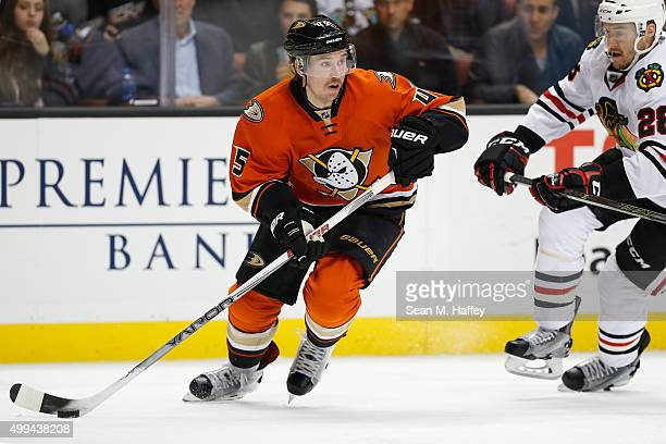 Sami Vatanen of the Anaheim Ducks skates with the puck during a game against the Chicago Blackhawks at Honda Center on November 27 2015 in Anaheim...