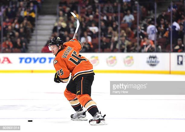 Sami Vatanen of the Anaheim Ducks takes a shot during the game against the Toronto Maple Leafs at Honda Center on January 6 2016 in Anaheim California