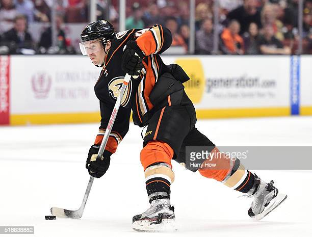 Sami Vatanen of the Anaheim Ducks takes a slap shot during a 32 loss to the Vancouver Canucks at Honda Center on April 1 2016 in Anaheim California