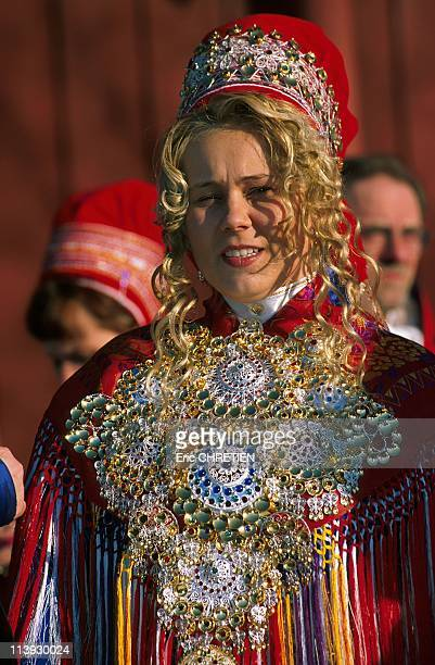 Sami Wedding Kautokeino Lapland In Norway In 1999The bride is always richly adorned with gold and silver All ornaments honoring the bride are curved...