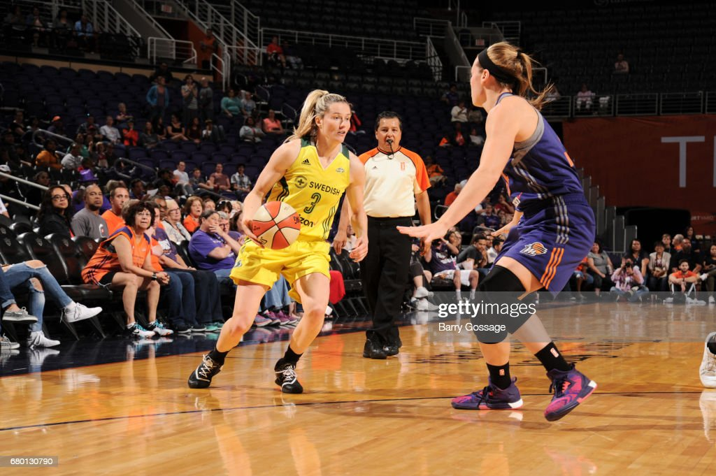 Sami Whitcomb #3 of the Seattle Storm handles the ball against the Phoenix Mercury during a preseason game on May 7, 2017 at Talking Stick Resort Arena in Phoenix, Arizona.
