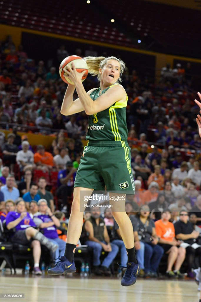 Sami Whitcomb #3 of the Seattle Storm handles the ball during the game against the Phoenix Mercury in Round One of the 2017 WNBA Playoffs on September 6, 2017 at Arizona State University Wells Fargo Arena in Tempe, Arizona.