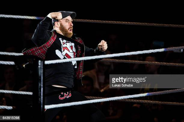 Sami Zayn arrives during to the WWE Live Duesseldorf event at ISS Dome on February 22 2017 in Duesseldorf Germany