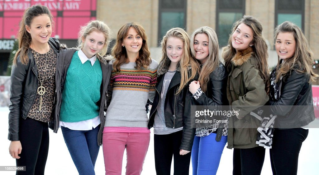 <a gi-track='captionPersonalityLinkClicked' href=/galleries/search?phrase=Samia+Ghadie&family=editorial&specificpeople=217588 ng-click='$event.stopPropagation()'>Samia Ghadie</a> (3rd-L) makes new friends as she skates at Selfridges The Trafford Centre Ice Rink to practice for her debut on 'Dancing On Ice' at The Trafford Centre on December 18, 2012 in Manchester, England.