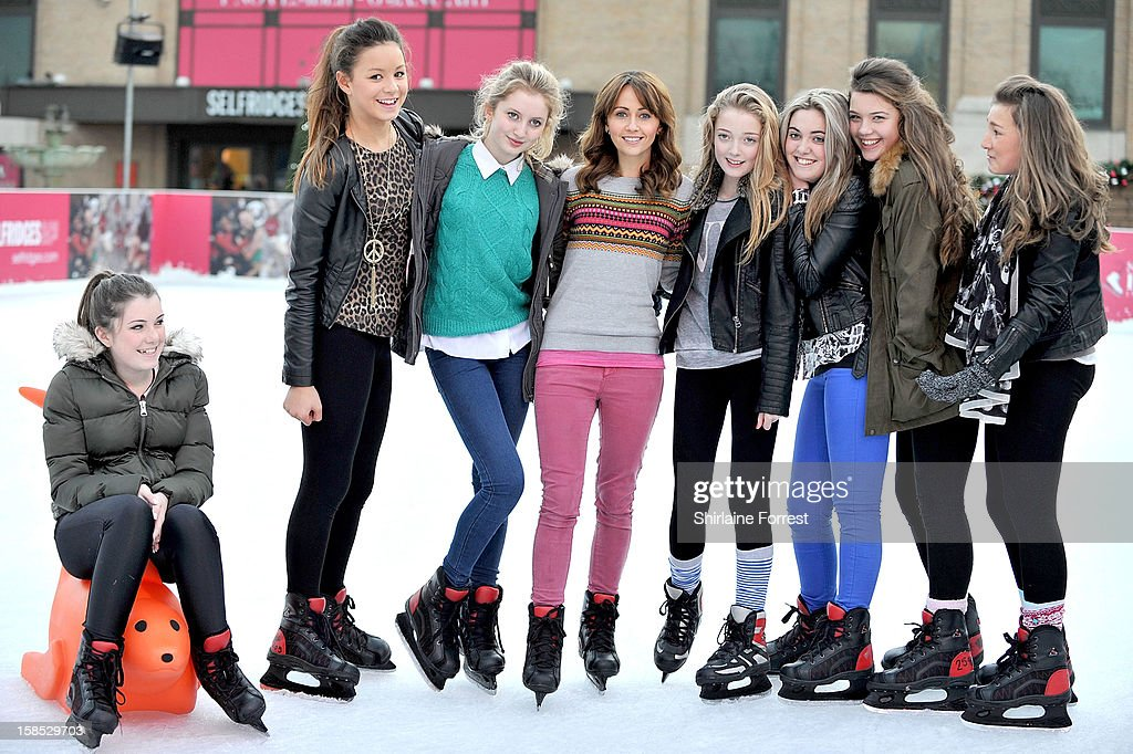 <a gi-track='captionPersonalityLinkClicked' href=/galleries/search?phrase=Samia+Ghadie&family=editorial&specificpeople=217588 ng-click='$event.stopPropagation()'>Samia Ghadie</a> (4th-L) makes new friends as she skates at Selfridges The Trafford Centre Ice Rink to practice for her debut on 'Dancing On Ice' at The Trafford Centre on December 18, 2012 in Manchester, England.