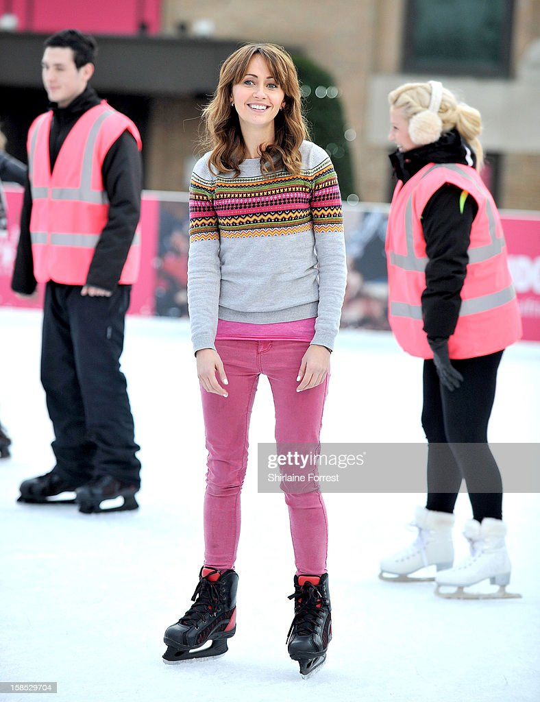 Samia Ghadie skates at Selfridges The Trafford Centre Ice Rink to practice for her debut on 'Dancing On Ice' at The Trafford Centre on December 18, 2012 in Manchester, England.