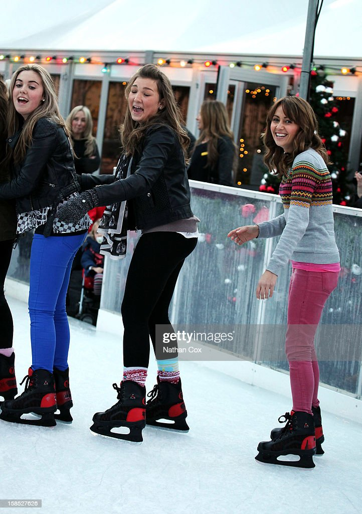 <a gi-track='captionPersonalityLinkClicked' href=/galleries/search?phrase=Samia+Ghadie&family=editorial&specificpeople=217588 ng-click='$event.stopPropagation()'>Samia Ghadie</a> (R) visits The Selfridges Trafford Centre Ice Rink for a spot of practice before competing in 2013's Dancing On Ice, at The Trafford Centre on December 18, 2012 in Manchester, England.