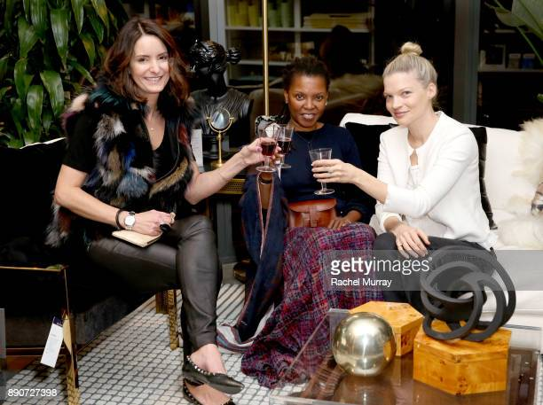 Samie Barr Agnes Baddoo and Wendy Polish at the Domino Outpost CB2 Influencer Dinner at Fred Segal on December 11 2017 in Los Angeles California