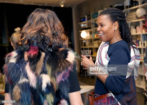 Samie Barr and Agnes Baddoo at the Domino Outpost CB2 Influencer Dinner at Fred Segal on December 11 2017 in Los Angeles California