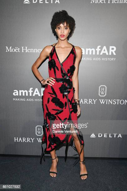 Samile Bermannelli walks the red carpet of amfAR Gala Milano on September 21 2017 in Milan Italy
