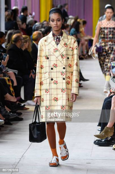 Samile Bermannelli walks the runway during the Miu Miu Paris show as part of the Paris Fashion Week Womenswear Spring/Summer 2018 on October 3 2017...