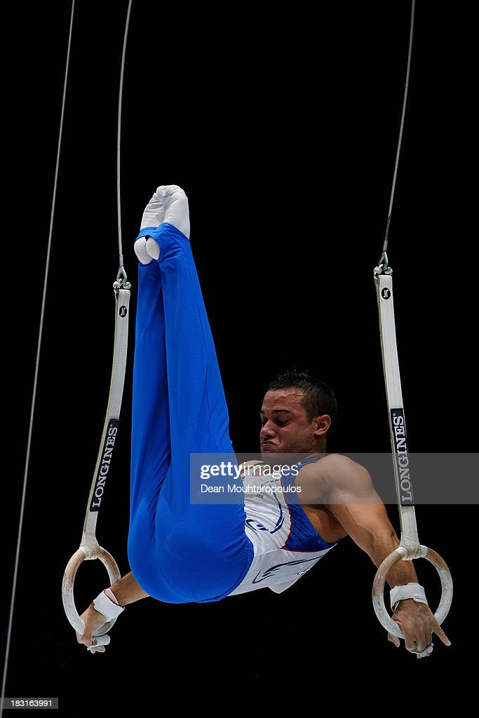 Samir Ait Said of France competes in the Rings Final on Day Six of the Artistic Gymnastics World Championships Belgium 2013 held at the Antwerp...