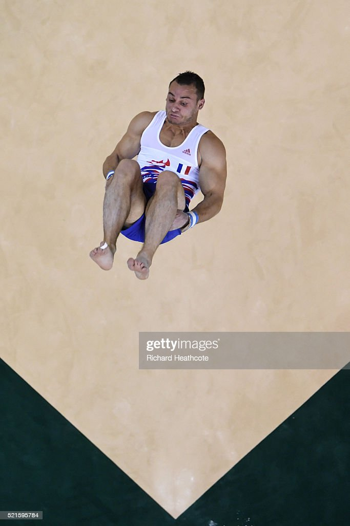 Samir Ait Said of France competes on the floor during quailifaction in the Artistic Gymnastics Aquece Rio Test Event at the Olympic Park on April 16, 2016 in Rio de Janeiro, Brazil.