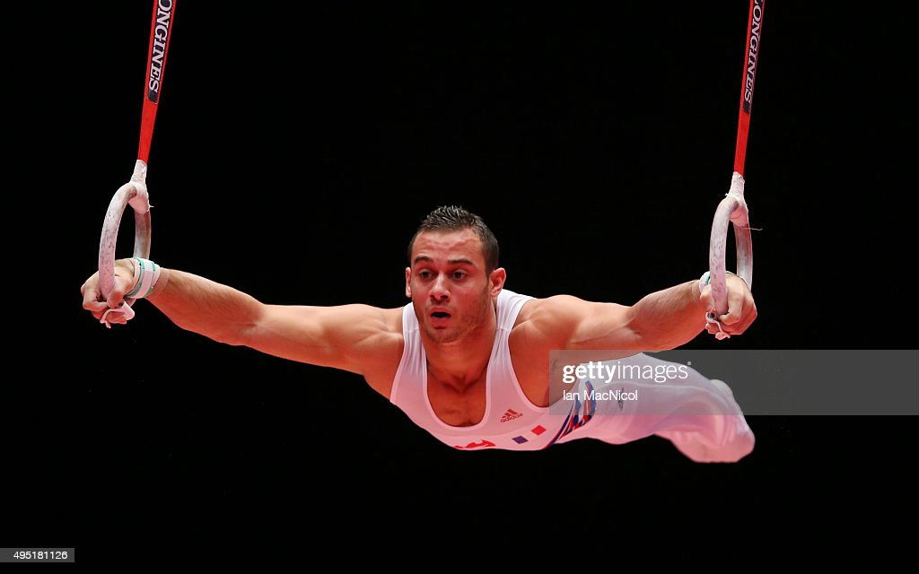 Samir Ait Said of France competes on the Rings during day nine of World Artistic Gymnastics Championships at The SSE Hydro on October 31, 2015 in Glasgow, Scotland.