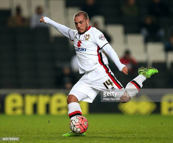 Samir Carruthers of Milton Keynes Dons in action during The Emirates FA Cup Third Round Replay match between Milton Keynes Dons and Northampton Town...