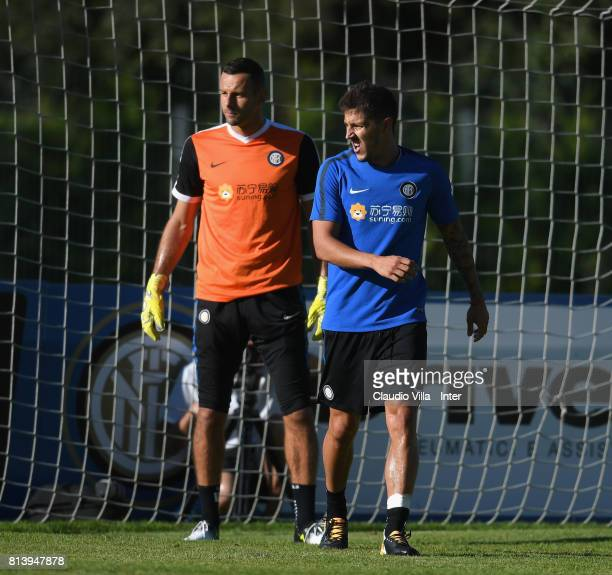 Samir Handanovic and Stevan Jovetic of FC Internazionale look on during the FC Internazionale training session on July 13 2017 in Reischach near...