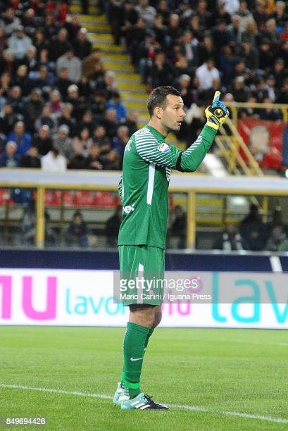 Samir Handanovic goalkeeper of FC Internazionale reacts during the Serie A match between Bologna FC and FC Internazionale at Stadio Renato Dall'Ara...