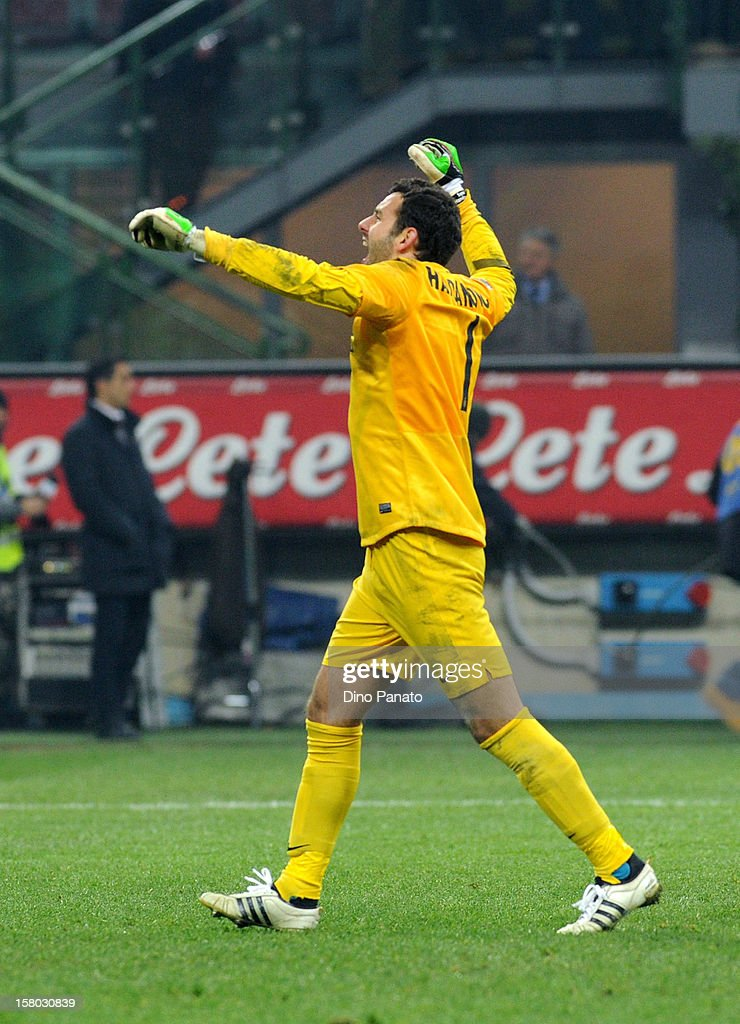 Samir Handanovic goalkeeper of Internazionale Milano celebrate victory after the Serie A match between FC Internazionale Milano and SSC Napoli at San Siro Stadium on December 9, 2012 in Milan, Italy.