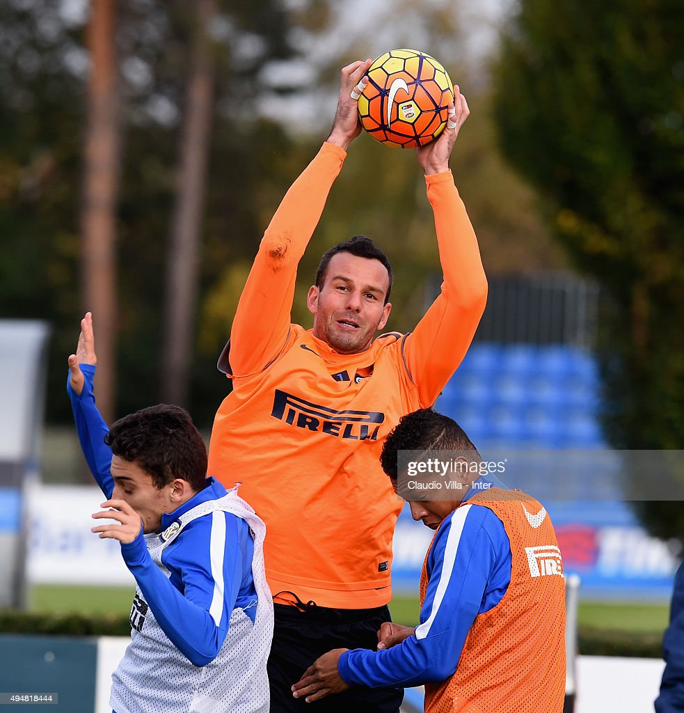 Samir Handanovic in action during a FC Internazionale training session at the club's training ground at Appiano Gentile on October 29, 2015 in Como, Italy.