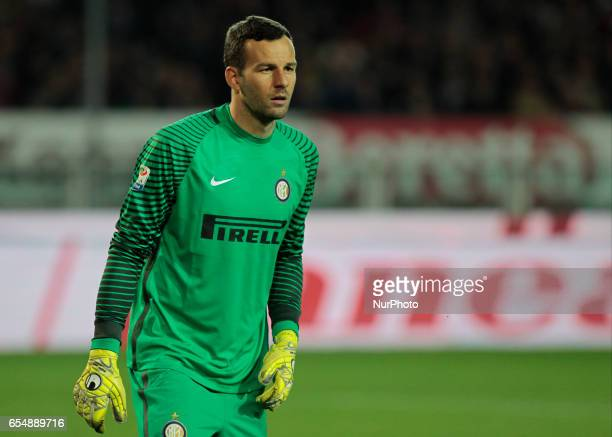 Samir Handanovic in action during the Serie A match between FC Torino and FC Internazionale at Stadio Olimpico di Torino on March 18 2017 in Turin...