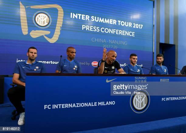 Samir Handanovic Joao Mario head coach Luciano Spalletti Mauro Icardi and Antonio Candreva of FC Internazionale speak with a media during a press...