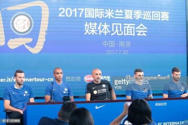Samir Handanovic Joao Mario head coach Luciano Spalletti Mauro Icardi and Antonio Candreva of FC Internazionale attend a press conference during the...
