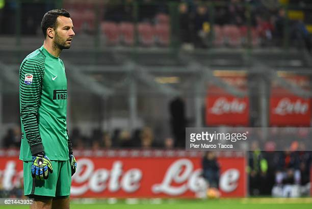 Samir Handanovic looks during the Serie A match between FC Internazionale and FC Crotone at Stadio Giuseppe Meazza on November 6 2016 in Milan Italy