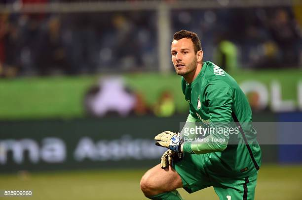 Samir Handanovic looks during the Serie A match between Genoa CFC and FC Internazionale Milano at Stadio Luigi Ferraris on April 20 2016 in Genoa...