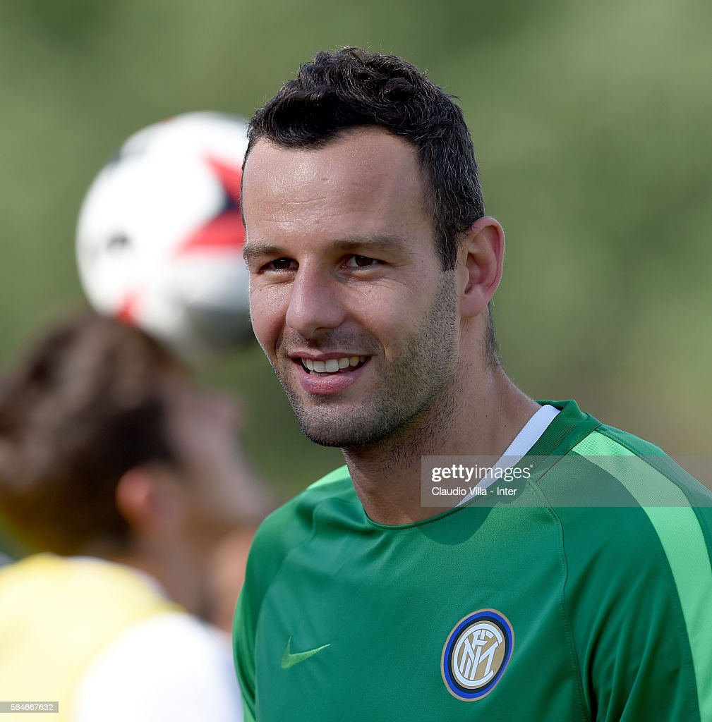 Samir Handanovic looks on during the FC Internazionale training session at Montclair State University on July 29 2016 in Montclair United States