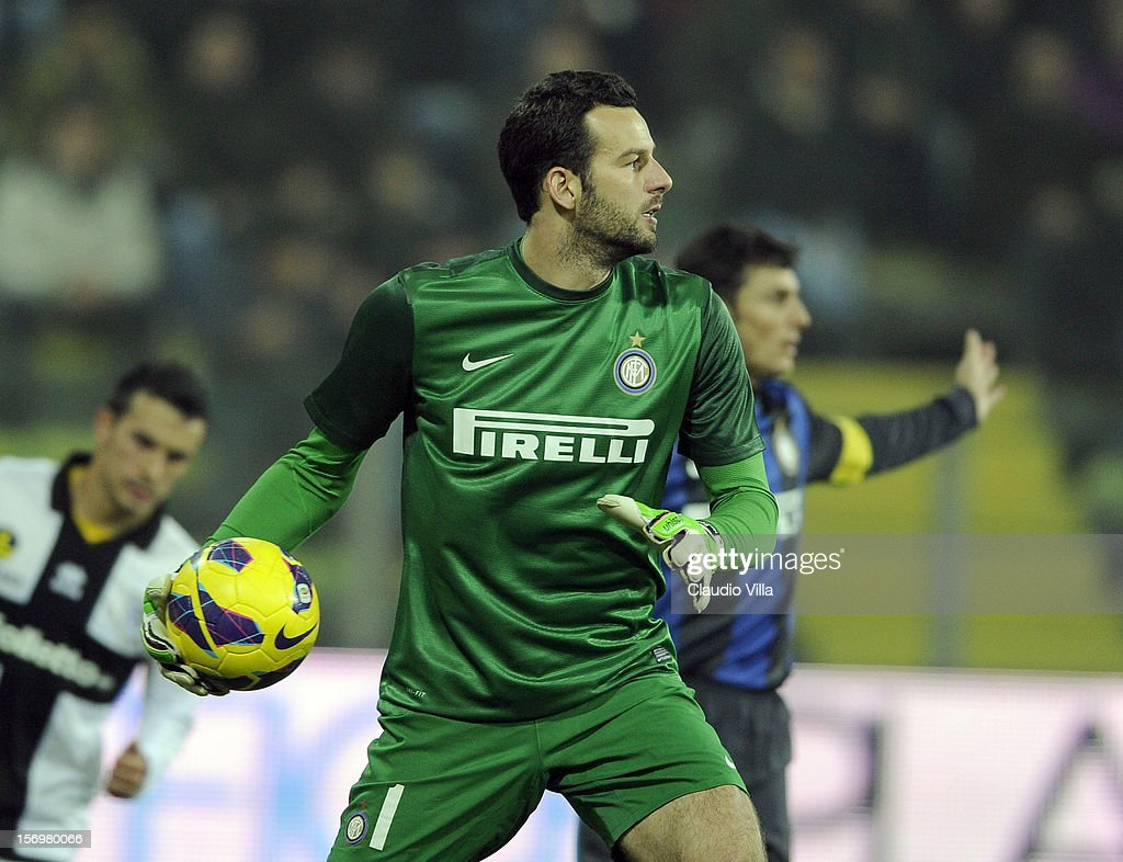 Samir Handanovic of FC Inter Milan during the Serie A match between Parma FC and FC Internazionale Milano at Stadio Ennio Tardini on November 26, 2012 in Parma, Italy.