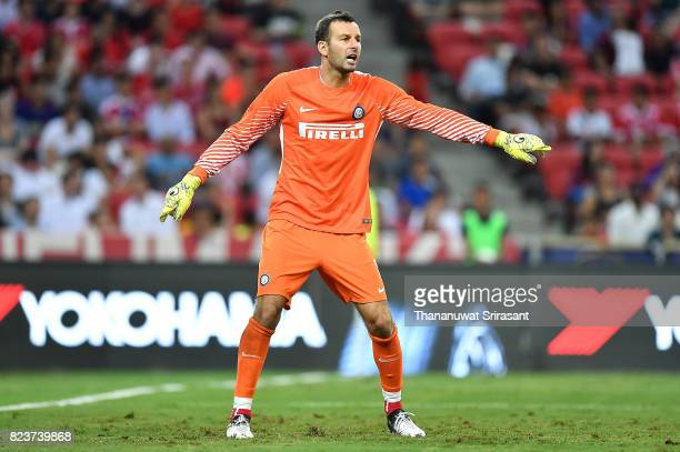 Samir Handanovic of FC Interernazionale actions during the International Champions Cup match between FC Bayern Munich and FC Internazionale at...
