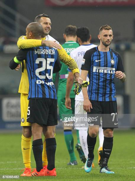 Samir Handanovic of FC Internazionale and Joao Miranda of FC Internazionale celebrate the win at the end of the Serie A match between FC...