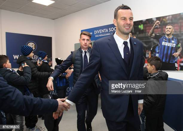 Samir Handanovic of FC Internazionale arrives prior to the Serie A match between FC Internazionale and Atalanta BC at Stadio Giuseppe Meazza on...