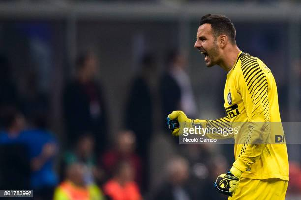 Samir Handanovic of FC Internazionale celebrates after a goal of his team during the Serie A football match between FC Internazionale and AC Milan FC...