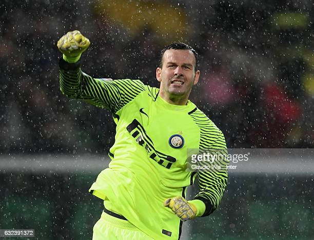 Samir Handanovic of FC Internazionale celebrates at the end of the Serie A match between US Citta di Palermo and FC Internazionale at Stadio Renzo...