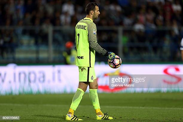 Samir Handanovic of FC Internazionale grabs the ball damaged after a game action during the Serie A match between Empoli FC and FC Internazionale at...